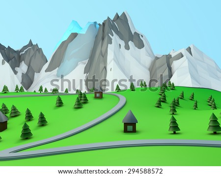 green valley among mountains with the road, houses and mountains - stock photo