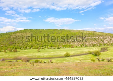 green valley of river
