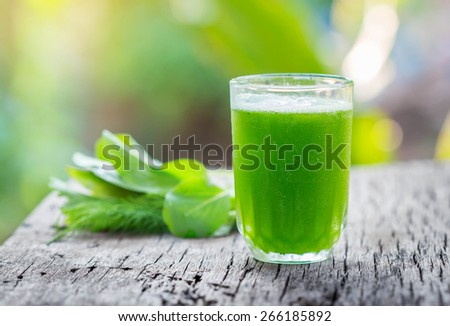 Green vegetable smoothie in a glass on wood. - stock photo