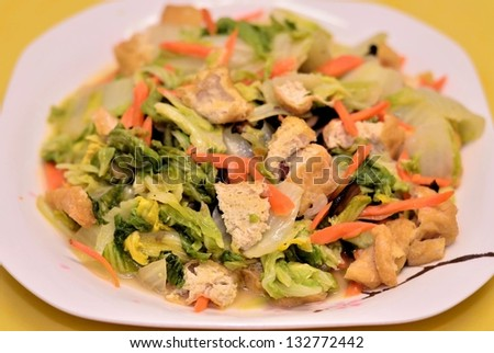 Green vegetable with tofu curd dish - stock photo