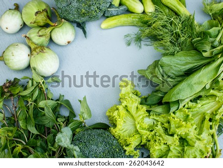 Green vegetables and herbs - stock photo