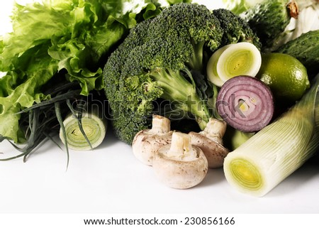 green vegetables, mushrooms and green onions - stock photo