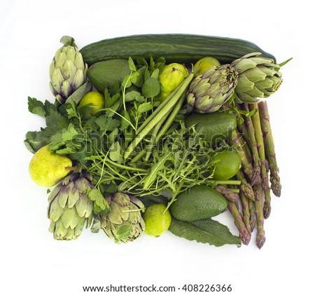 Green veggies suqare on white - stock photo