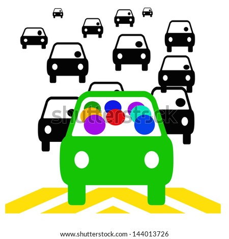 green vehicle with passengers in traffic illustration - stock photo