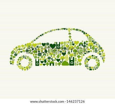 Green vintage light car design eco friendly hand drawn - stock photo