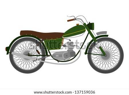 Green Vintage single-engine motorcycle on a white background. - stock photo