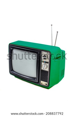 Green vintage style old television isolated on white