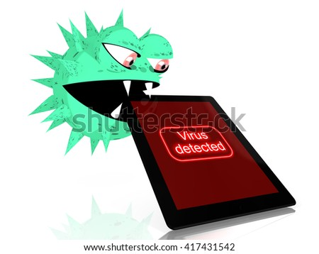 Green virus bites into a digital tablet with the words virus detected on the screen 3D illustration - stock photo