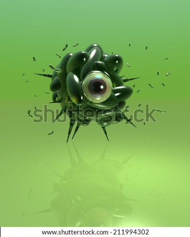 Green virus with eye in the middle - stock photo
