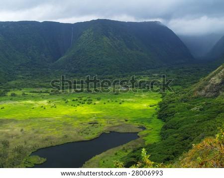Green Waipio valley at Big Island, Hawaii - stock photo