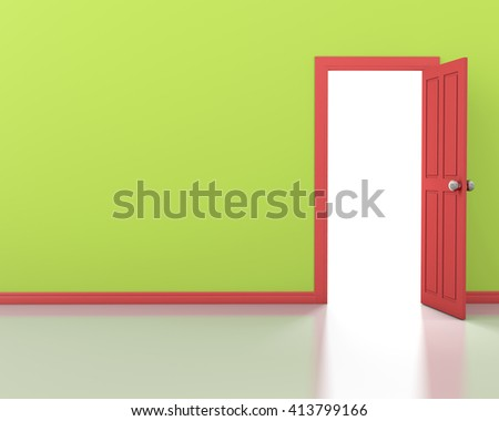 green wall with opened red door 3d rendering - stock photo