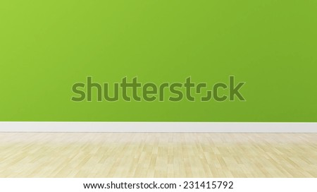 green wall with wooden floor - stock photo