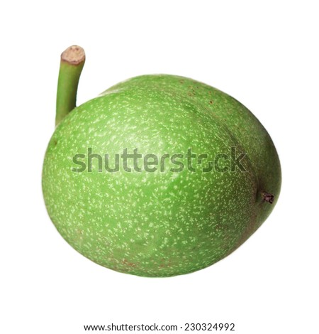 green walnuts isolated on white background - stock photo