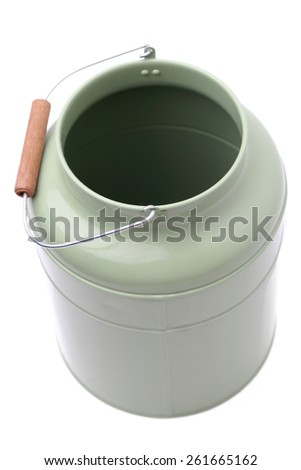 Green water-can over white background