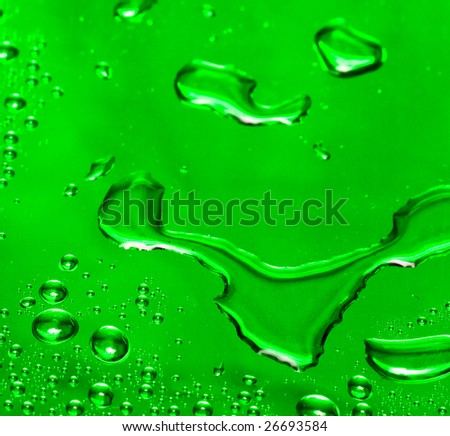 green water drop for background
