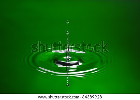 Green water environmental abstract background - green water drop splashing in water. - stock photo