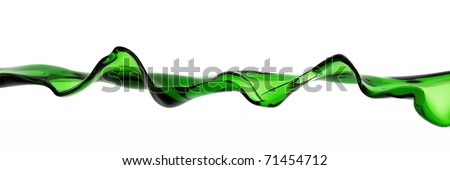 Green Water Wave isolated on white background - stock photo