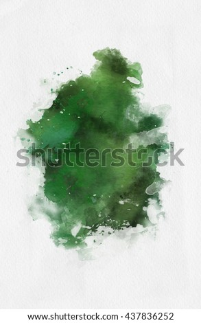 Green watercolor paint banner with random brushstrokes as a central band over textured white paper with copy space for a design template - stock photo