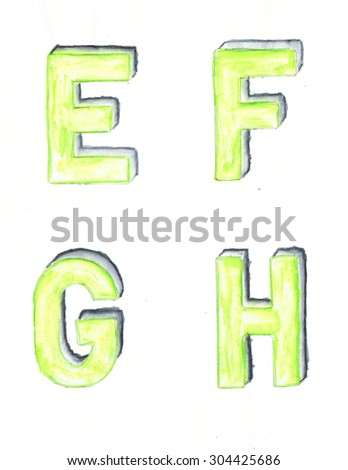 Green watercolor stencil letters on white paper - stock photo