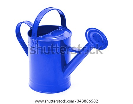 Green watering can isolated on a white background