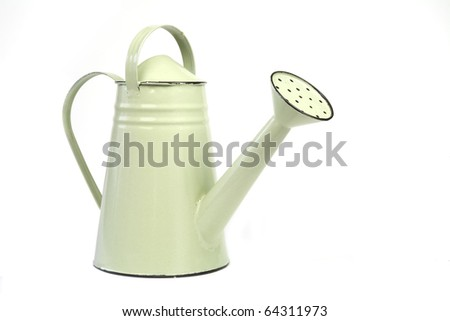 green watering can, isolated on white background - stock photo