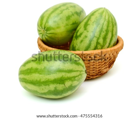 green watermelon fruits isolated on white background