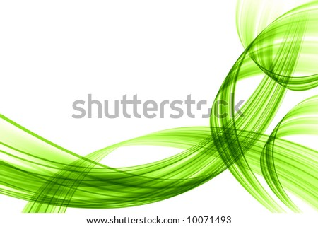 Green wave on white - stock photo