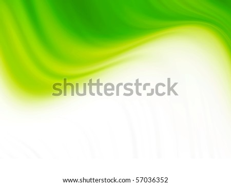 Green waves over white background. Abstract illustration