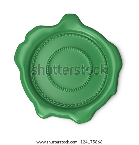 Green wax seal on white background - stock photo