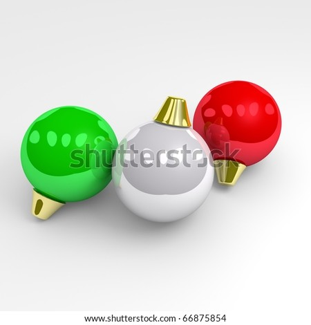 Green, white and red christmas balls. - stock photo