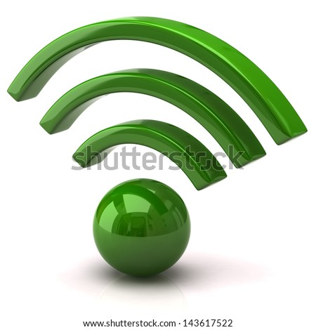Green wifi icon - stock photo