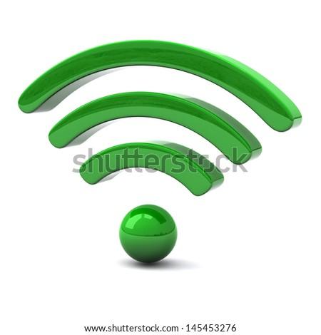 Green wifi icon, 3d - stock photo
