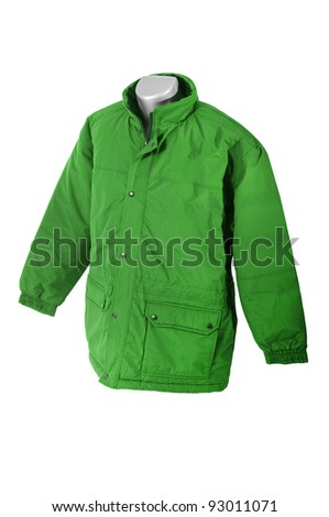 Green winter jacket. Man coat on white - stock photo
