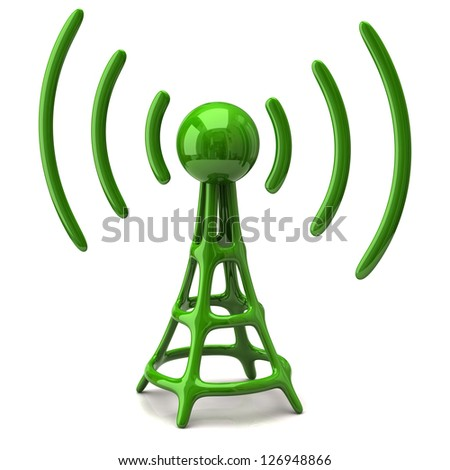 Green wireless icon on white background - stock photo
