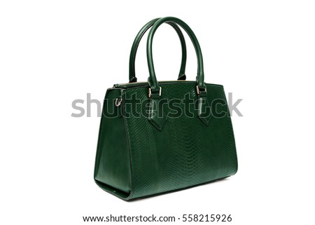 Green woman female purse handbag isolated on white background