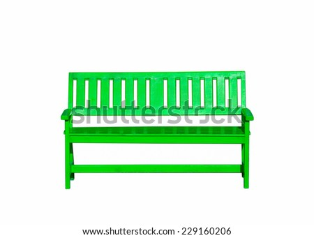 green wood bench isolated on white background - stock photo