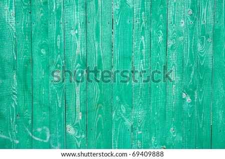 green wooden boards as a background - stock photo