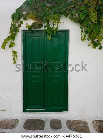Green Wooden door to the whitewashed building, and the vine. Background.