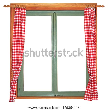Green wooden window with red and white curtains, isolated on white background - stock photo