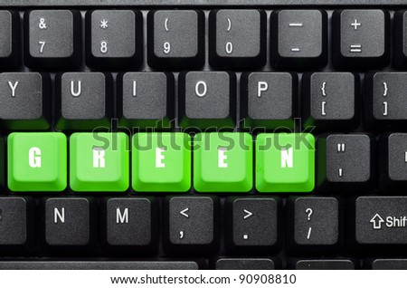 green word on green and black keyboard - stock photo