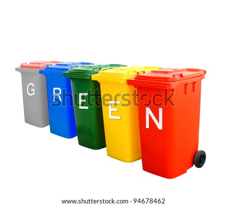 Green wording on colorful recycle bins isolated, ecology concept