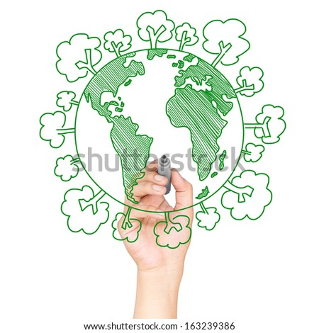 Green world drawing concept - stock photo
