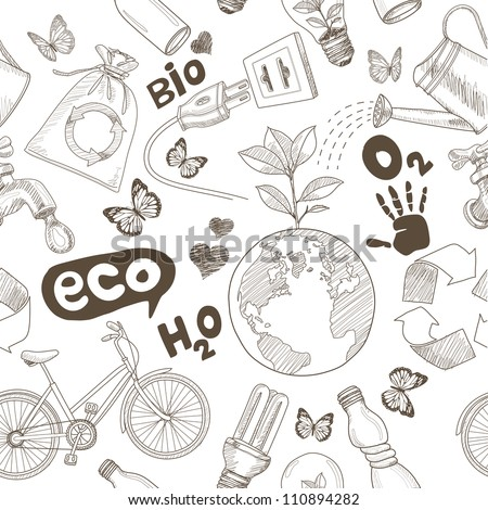Green world drawing Save the earth concept. Ecology doodles icons seamless. - stock photo