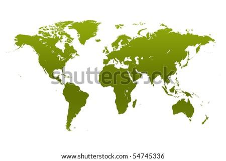 Green world map - stock photo