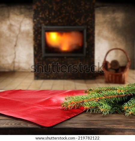 green xmas tree red napkin and interior of room  - stock photo