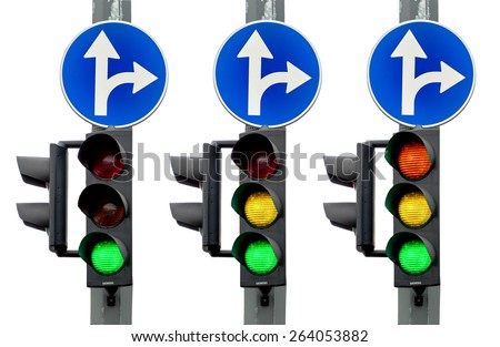 Green, Yellow and Red light, Traffic lights isolated on white background - stock photo