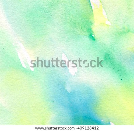 Green yellow blue white watercolor hand drawn paper texture light background for wallpaper, design. Abstract water artistic brush paint ink and pastel splash element for banner, greeting card, cover - stock photo