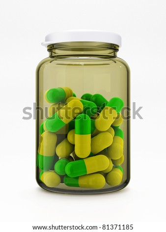 Green-yellow pills in closed glass medical bottle with plastic cap isolated on white background - stock photo