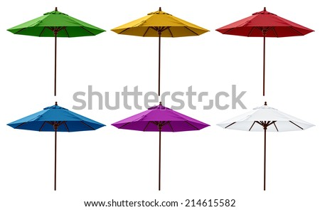 Green, Yellow, Red, Blue, Purple and White beach umbrellas isolated on white. - stock photo