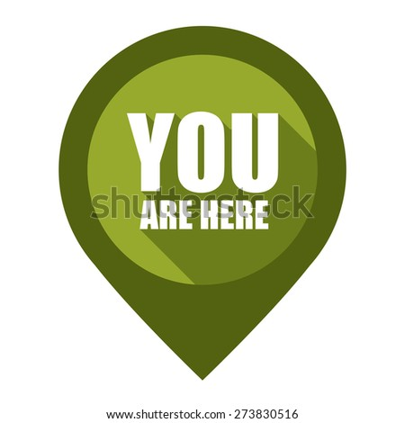 Green You Are Here Map Pointer Icon Isolated on White Background  - stock photo